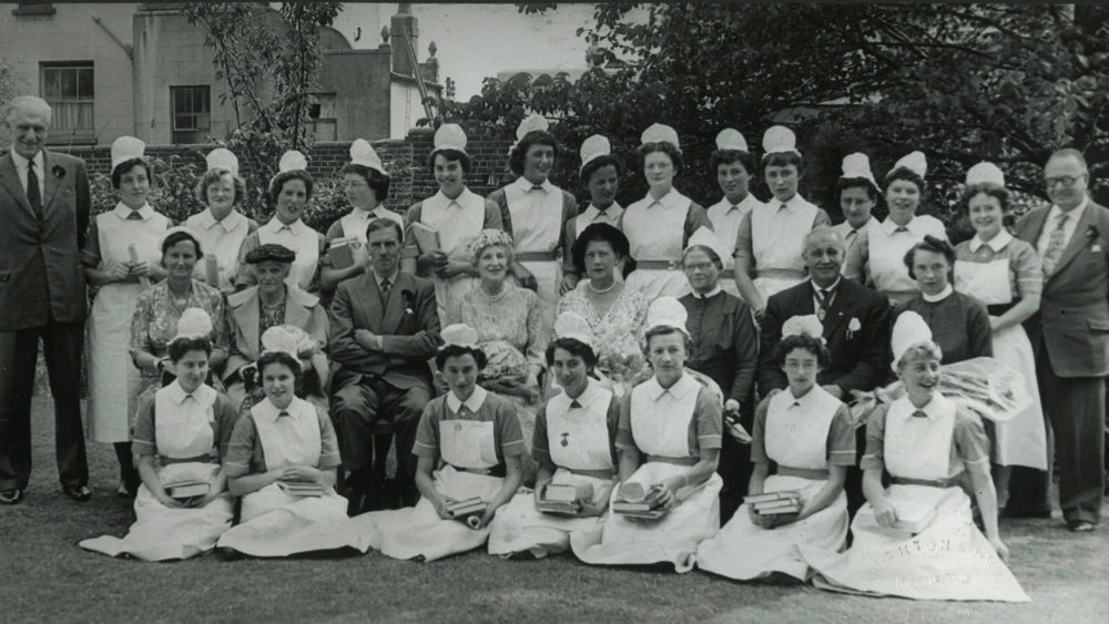 A large group of hospital staff, 1950s