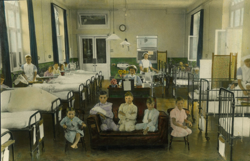 Colourised portrait of child inpatients, 1930s