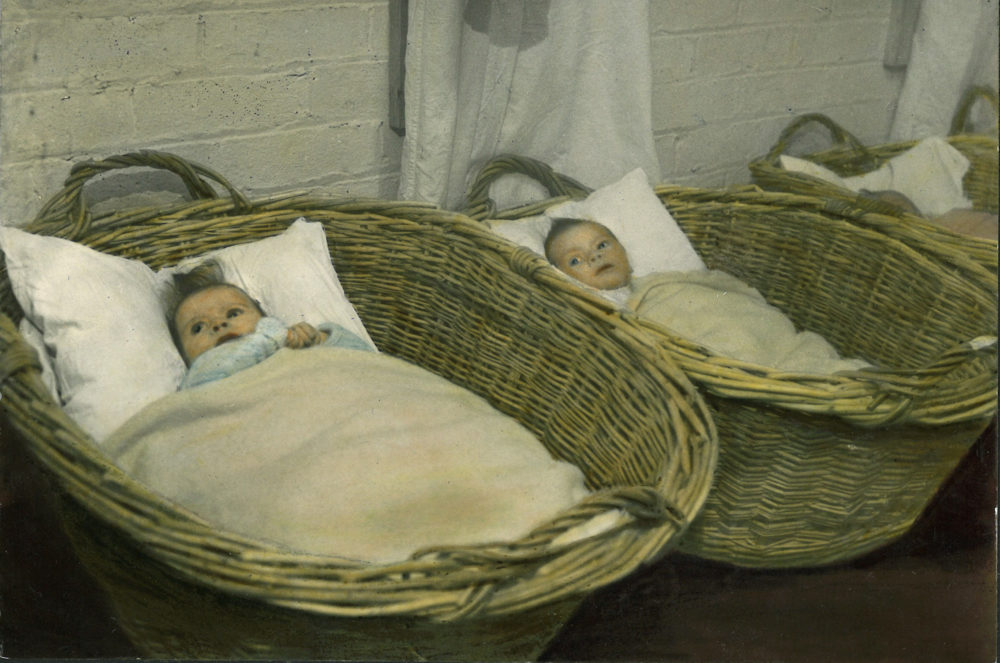 Babies in Moses baskets, 1940s