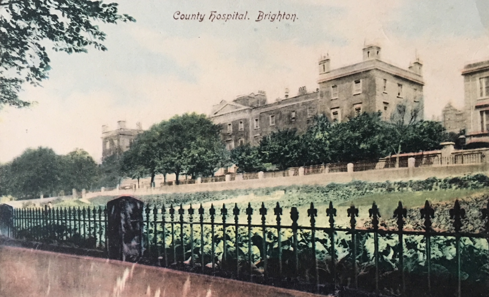 Colourised postcard of the Royal Sussex County Hospital, early 20th Century